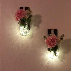 Light up mason jar wall decor
